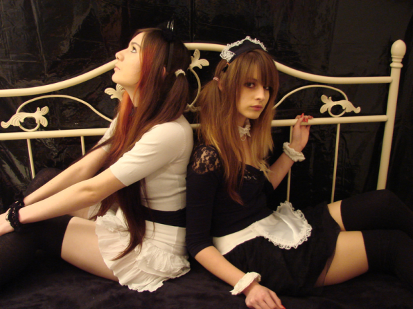 Romana and Marina as anime maid hostesses for Japanese party Obscure Motion in 2010.