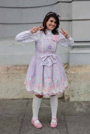 "Leona as a sweet lolita for pop culture program ""Day of Japan""."